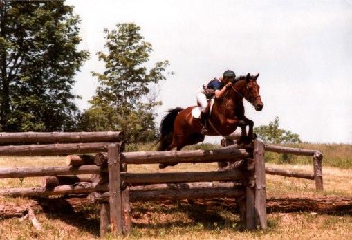 Helen jumping Easy Street, Logs
